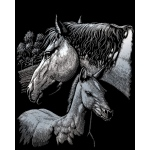 "Royal & Langnickel® Engraving Art Engraving Art Set Silver Foil Horses: 8"" x 10"", Metallic, (model SILF44), price per set"