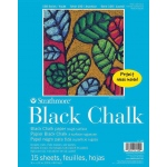 "Strathmore® 100 Series Glue Bound Black Chalk Paper Pad: Glue Bound, Black/Gray, Pad, 9"" x 12"", Rough, (model ST27-150), price per pad"