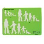 "Alvin® Human Figure Template - Children: Green, 8 1/4"" x 5 3/4"" x .030"", General Purpose, (model TD44), price per each"