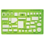 "Alvin® House Furniture Template; Color: Green; Size: 10"" x 5 7/8"" x .030""; Type: Architectural; (model TD7151), price per each"