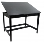 "Alvin® Vanguard™ Drawing Room Table 36"" x 48"" Black Ash; Angle Adjustment Range: 0 - 25; Base Color: Brown; Base Material: Rubber Wood; Drawer Size: 17""l x 27""w x 1 1/2""h; Height: 33 1/3""; Top Color: Black/Gray; Top Material: Rubber Wood; Top Size: 36"" x 48""; (model VAN48-BA), price per each"
