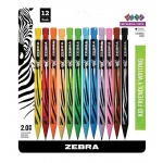 Zebra® Cadoozles® Colored Mechanical Pencils 12-Set; Color: Multi; Format: Pencil; Quantity: 12 Pencils; Type: Mechanical; (model Z52812), price per 12 Pencils