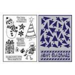 Ranger - Dyan Reaveley - Dylusions - Stamp/Stencil Set - Dear Santa