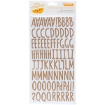 American Crafts - Amy Tangerine - Stitched Thickers Stickers 5.5inX11in 2/Sheets - Everyday Alpha/Kraft Chipboard
