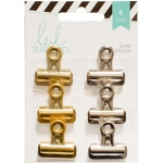 American Crafts - Heidi Swapp - Bulldog Clips 1in 6 Pack Silver/Gold