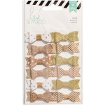 American Crafts - Heidi Swapp - Fabric Bows 12 Pack Gold/White