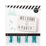American Crafts - Heidi Swapp - Lightbox Inserts - 50 Pack - Mini Alphabet/Teal On White