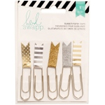 American Crafts - Heidi Swapp - Paper Flag Clips 2.5in 5 Pack Gold/Silver