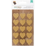 American Crafts - DIY Shop - 2 Glitter Stickers - Gold Hearts