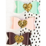 Prima - My Prima Planner - Magnetic Faux Leather Closures 3 Pack Bows with Gold Glitter Hearts