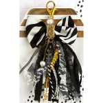Prima - My Prima Planner - Bow Tassel with Clasp 2.75inX4- Glitz Black - White Stripe with Gold