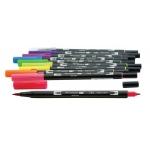 Tombow® Dual Brush® 10-Color Bright Pen Set: Multi, Double-Ended, Water-Based, Brush Nib, Fine Nib, (model 56185), price per set