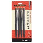 Pilot® Razor Point Fine Line Marker Pen Set: Black/Gray, 4-Pack, .3mm, Ultra Fine Nib, (model P11044), price per 4-Pack