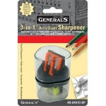General's® 3-in-1 Sharpener: Three, Plastic, Manual, (model S6491CBP), price per each