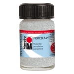 Marabu Porcelain Paint Glitter Silver 15ml: Metallic, Jar, 15 ml, Porcelain, (model M11059039582), price per each