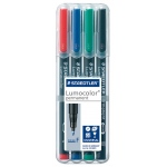 Staedtler® Lumocolor® Permanent Marker Set Fine : Assorted, 4-Pack, .6mm, Fine Nib, (model 318WP-4), price per set