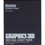 "Bienfang® Graphics 360 9"" x 12"" Layout Paper Pad; Color: White/Ivory; Format: Pad; Quantity: 50 Sheets; Size: 9"" x 12""; (model 360-1), price per 50 Sheets pad"