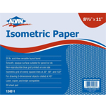 "Alvin® Isometric 30-Sheet Paper Pad 8.5"" x 11""; Format: Sheet; Grid Size/Pattern: Isometric; Quantity: 30 Sheets; Size: 8 1/2"" x 11""; Weight: 20 lb; (model 1242-1), price per 30 Sheets pad"