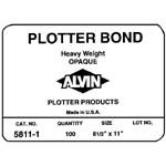 "Alvin® Heavyweight Opaque Plotter Bond 100-Sheet Pack 11 x 17: White/Ivory, Sheet, 100 Sheets, 11"" x 17"", (model 5811-5), price per 100 Sheets"