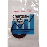 "Chartpak® 1/6 x 648 Graphic Tape Black Gloss; Color: Black/Gray; Size: 1/8"" x 324""; Type: Graphic; (model BG1251), price per each"