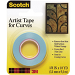 "Scotch® Artist Tape for Curves; Type: Artist; Width: 1/16""; (model FA2038), price per roll"