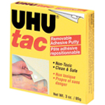 UHU® Tac Removable Adhesive Putty Block; Color: White/Ivory; Material: Putty; Shape: Square; (model U99681), price per each