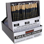 General's® Peel & Sketch™ Paper Wrapped Charcoal Pencil Display: Pencil, Paperwrap, (model G5634D), price per each