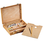 "Heritage Arts™ Palette Sketch Box Large: Brown, Wood, 12""d x 15 1/2""w x 3 1/4""h, Palette Sketch Box, (model HWB148), price per each"