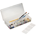"Heritage Arts™ Small Organizer Box; Color: Clear; Material: Plastic; Size: 4 1/2""d x 10 1/4""w x 1 1/2""h; (model HPB1005), price per each"