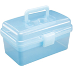 "Heritage Arts™ Small Art Tool Box: Blue, Plastic, 5""d x 9 1/2""w x 5 1/4""h, (model HPB1006), price per each"