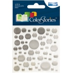"""Blue Hills Studio™ ColorStories™ Epoxy Color Spots Stickers White/Gray; Color: White/Ivory; Material: Epoxy; Size: 3 1/4"""" x 3 1/4""""; Type: Dimensional; (model BHS10717), price per each"""