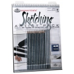 "Royal & Langnickel® Essentials™ Sketching Artist Pack; Binding: Wire Bound; Color: Multi; Quantity: 10 Sheets; Size: 9"" x 12""; (model RD513), price per 10 Sheets"