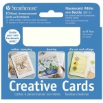 "Strathmore® 3.5 x 4.875 Fluorescent White/Deckle Creative Cards: White/Ivory, Envelope Included, Card, 10 Cards, 3 1/2"" x 4 7/8"", 80 lb, (model ST105-11), price per 10 Cards"
