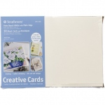 "Strathmore® 5 x 6.875 Palm Beach/Plain Edge Creative Cards 50-Pack: Blue, White/Ivory, Envelope Included, Card, 50 Cards, 5"" x 6 7/8"", 80 lb, (model ST105-220), price per 50 Cards"