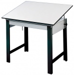 "Alvin® DesignMaster Table Black Base White Top37.5"" x 72""; Angle Adjustment Range: 0 - 45; Base Color: Black/Gray; Base Material: Steel; Height: 37""; Top Color: White/Ivory; Top Material: Melamine; Top Size: 37 1/2"" x 72""; (model DM72ND-BK), price per each"