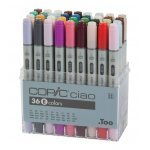 Copic® Ciao Ciao 36-Marker Set E; Color: Multi; Double-Ended: Yes; Ink Type: Alcohol-Based; Refillable: Yes; Tip Type: Broad Nib, Fine Nib; (model I36E), price per set