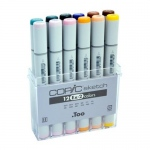 Copic® Sketch 12-Color Marker Set EX-2: Multi, Double-Ended, Alcohol-Based, Refillable, Broad Nib, Brush Nib, (model S12EX-2), price per set