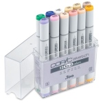 Copic® Sketch 12-Color Marker Set EX-3: Multi, Double-Ended, Alcohol-Based, Refillable, Broad Nib, Brush Nib, (model S12EX-3), price per set
