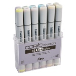 Copic® Sketch 12-Color Marker Set EX-4; Color: Multi; Double-Ended: Yes; Ink Type: Alcohol-Based; Refillable: Yes; Tip Type: Broad Nib, Brush Nib; (model S12EX-4), price per set