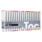 Copic® Sketch 72-Color Marker Set C: Multi, Double-Ended, Alcohol-Based, Refillable, Broad Nib, Brush Nib, (model S72C), price per set