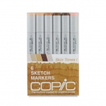 Copic® Sketch 6-Color Skin Tones Marker Set: Multi, Double-Ended, Alcohol-Based, Refillable, Broad Nib, Brush Nib, (model SSKIN1), price per set