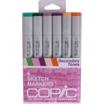 Copic® Sketch 6-Color Second Tones Marker Set; Color: Multi; Double-Ended: Yes; Ink Type: Alcohol-Based; Refillable: Yes; Tip Type: Broad Nib, Brush Nib; (model SSECONDARY), price per set