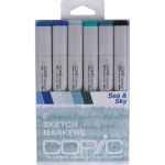 Copic® Sketch 6-Color Sea & Sky Marker Set: Multi, Double-Ended, Alcohol-Based, Refillable, Broad Nib, Brush Nib, (model SSEASKY), price per set