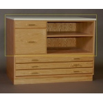 "SMI Stained Medium Oak Finish Vertical File & Shelf for 24"" x 36"" Flat File"
