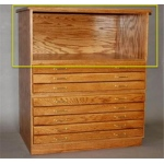 "SMI Medium Oak Steel Drawer Guide Flat File Bookshelf: 33"" x 47"" x 16 5/8"""