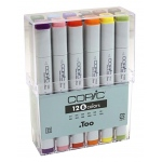 Copic® Original 12 Marker Set Basic; Color: Multi; Double-Ended: Yes; Ink Type: Alcohol-Based; Refillable: Yes; Tip Type: Broad Nib, Fine Nib; (model CB12), price per set