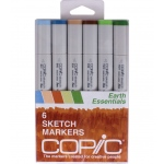 Copic® Sketch 6-Color Earth Essentials Marker Set; Color: Multi; Double-Ended: Yes; Ink Type: Alcohol-Based; Refillable: Yes; Tip Type: Broad Nib, Brush Nib; (model SEARTH), price per set