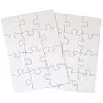 """Inovart 12-Piece Blank Puzzle, 5-1/2"""" x 8"""", White - 12 puzzles per pack"""