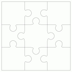 "Inovart 9-Piece Blank Puzzle, 4"" x 5-1/2"", White - 12 puzzles per pack"