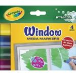 Crayola® Washable Window Mega Marker 4-Color Set: Multi, Washable, (model 58-8166), price per pack